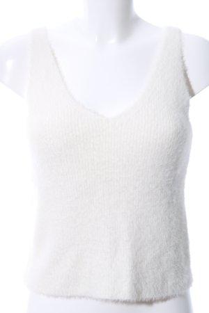 Bershka Gebreide top wit casual uitstraling