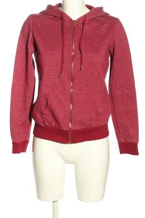 Bershka Sweat Jacket red casual look