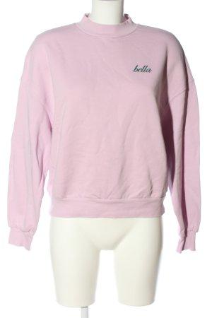 Bershka Sweat Shirt pink-khaki embroidered lettering casual look