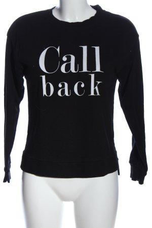 Bershka Sweatshirt schwarz-weiß Schriftzug gedruckt Casual-Look