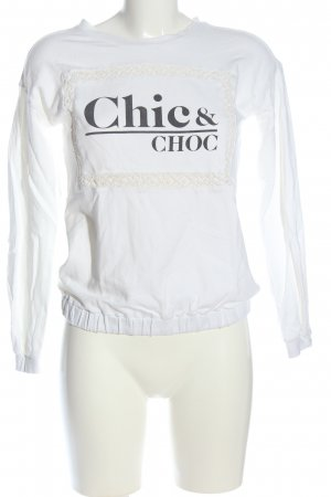 Bershka Sweatshirt weiß-schwarz Schriftzug gedruckt Casual-Look