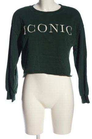 Bershka Sweatshirt grün Schriftzug gestickt Casual-Look