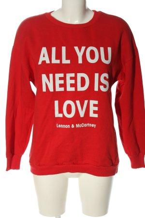 Bershka Sweatshirt rot-weiß Schriftzug gedruckt Casual-Look