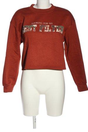 Bershka Sweatshirt rot Schriftzug gedruckt Casual-Look