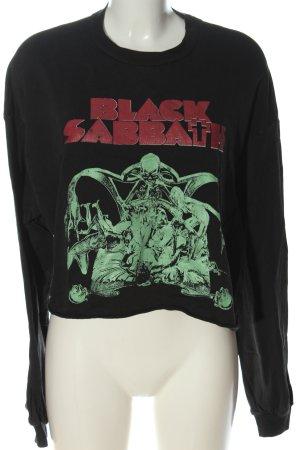 Bershka Sweatshirt schwarz Motivdruck Casual-Look