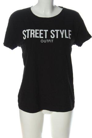 Bershka T-Shirt schwarz-weiß Schriftzug gedruckt Casual-Look