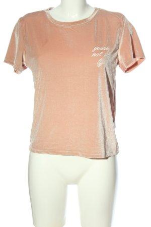 Bershka T-Shirt creme-nude Schriftzug gedruckt Casual-Look