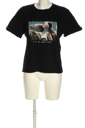 Bershka T-Shirt schwarz Motivdruck Casual-Look