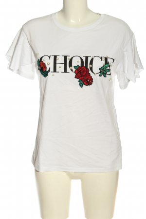 Bershka T-Shirt weiß-schwarz Schriftzug gedruckt Casual-Look