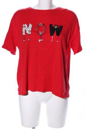 Bershka T-Shirt rot Schriftzug gedruckt Casual-Look