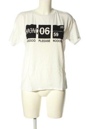 Bershka T-Shirt weiß-schwarz Motivdruck Casual-Look