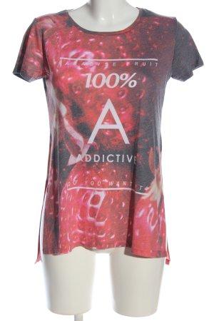 Bershka T-Shirt rot-schwarz Allover-Druck Casual-Look