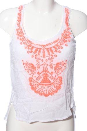 Bershka Camiseta sin mangas blanco-naranja claro estampado floral look casual