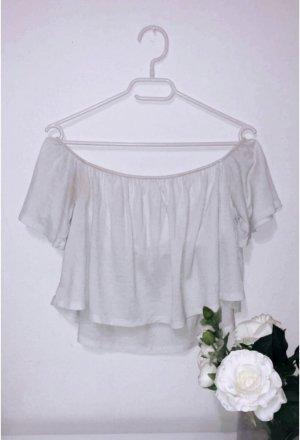 Bershka top oberteil shirt tshirt weiß off shoulder schulterfrei