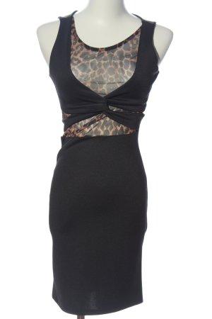 Bershka Sukienka midi czarny-brązowy Wzór w lwa Ekstrawagancki styl