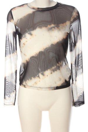 Bershka Transparante blouse zwart-wolwit kleurverloop klassieke stijl