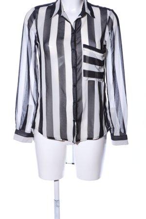 Bershka Transparenz-Bluse schwarz-weiß Streifenmuster Casual-Look