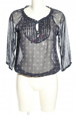 Bershka Transparent Blouse light grey-white graphic pattern business style