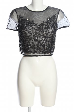 Bershka Transparenz-Bluse schwarz Glanz-Optik