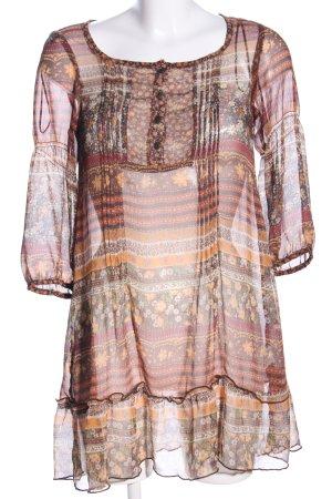 Bershka Transparenz-Bluse braun-hellorange Blumenmuster Elegant