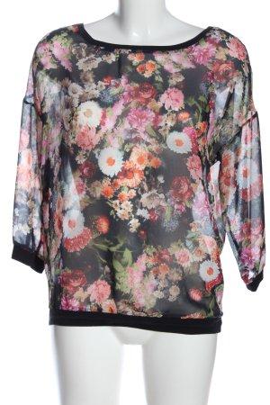 Bershka Transparenz-Bluse Blumenmuster Casual-Look