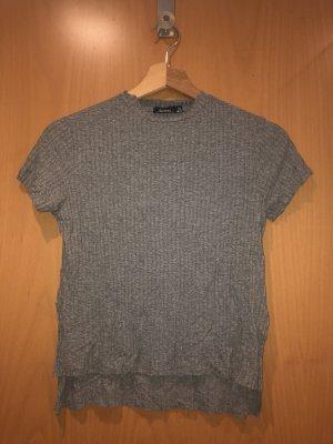 Bershka Camisa con cuello caído gris