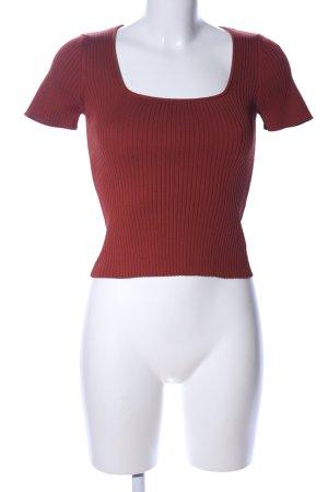 Bershka U-Boot-Shirt rot Streifenmuster Business-Look