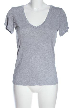 Bershka V-Ausschnitt-Shirt hellgrau meliert Casual-Look