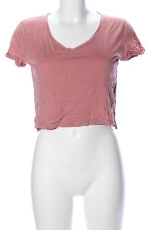 Bershka V-Ausschnitt-Shirt pink Casual-Look