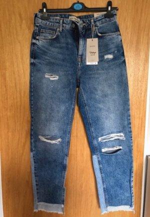 Bershka Hoge taille jeans korenblauw-donkerblauw