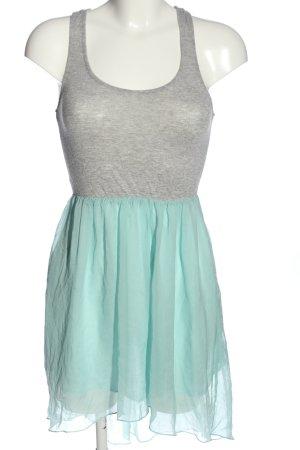 Bershka High Low Dress light grey-turquoise flecked elegant
