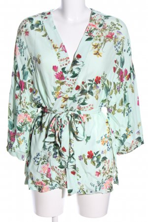 Bershka Wraparound Blouse green-red flower pattern casual look
