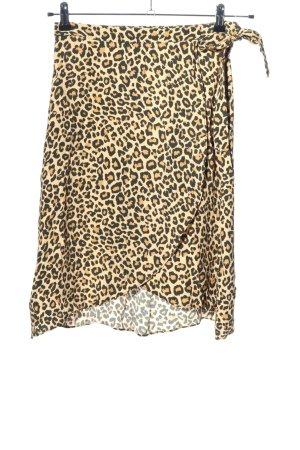 Bershka Jupe portefeuille crème-noir motif léopard style décontracté