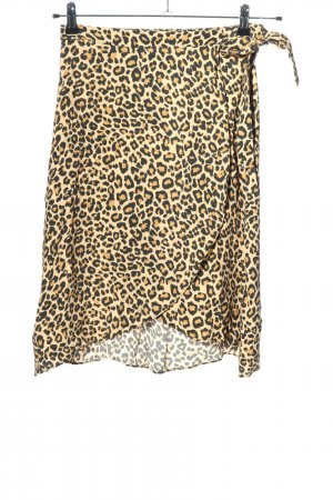 Bershka Wikkelrok room-zwart luipaardprint casual uitstraling