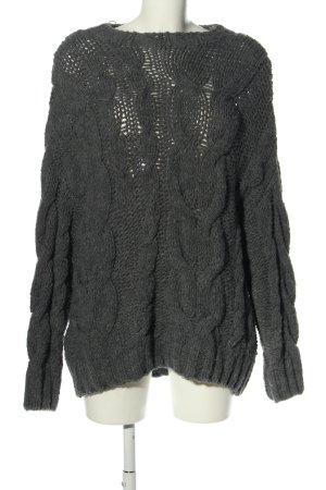 Bershka Warkoczowy sweter jasnoszary W stylu casual