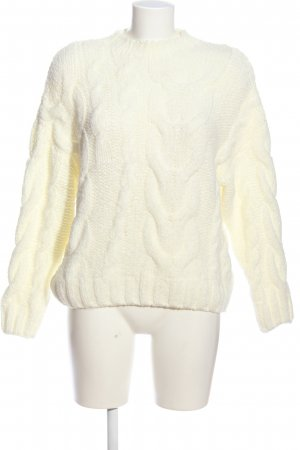 Bershka Cable Sweater natural white cable stitch casual look