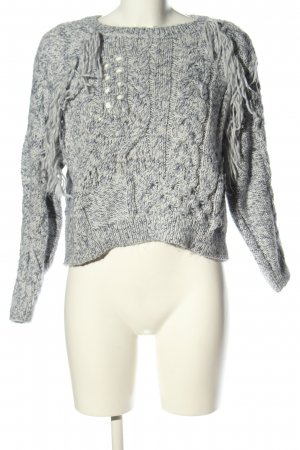 Bershka Cable Sweater light grey flecked casual look