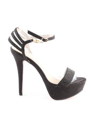 Berta Sandalen met bandjes en hoge hakken zwart elegant