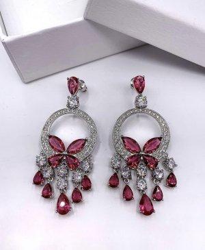 Pessina-Jewelry Pendientes de oro color plata-rojo neón