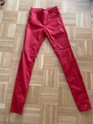 Beschichtete Skinny-Treggings - Red/Rot - Größe 32 XXS/XS - Stretchig!