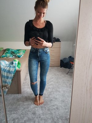 Bershka Hoge taille jeans korenblauw-staalblauw Lycra