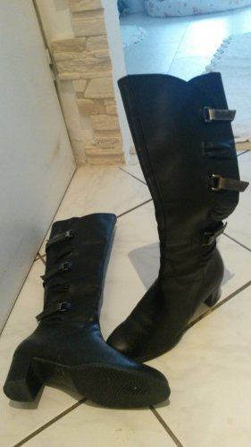 Gothic Boots black-silver-colored