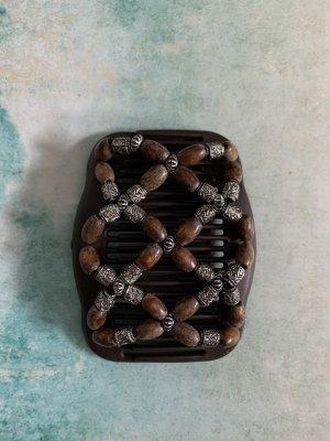 Handmade Barrette brun noir-marron clair