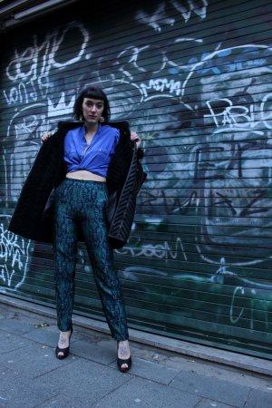 Hoge taille broek blauw-groen