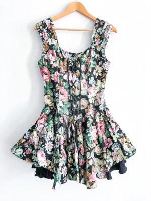 besonderes Corsage- Ähnliches Kleid aus Baumwolle mit Schnüren und Blumenprint