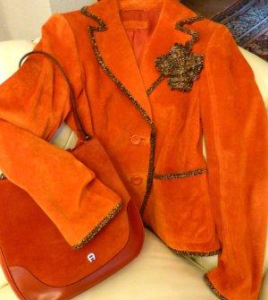 Betty Barclay Veste en cuir orange foncé cuir