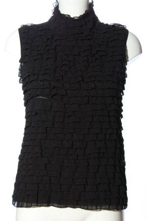 Bessini Ruche blouse zwart casual uitstraling