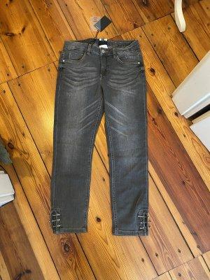 Best Connections Dopasowane jeansy szary Bawełna