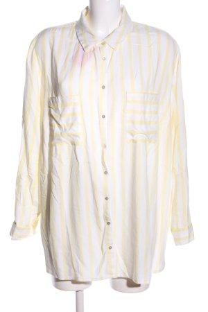 Best Connections Hemd-Bluse weiß-blassgelb Streifenmuster Business-Look