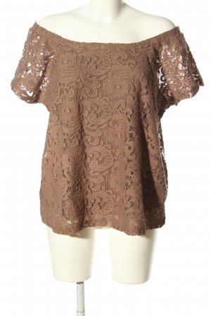 Best Connections Short Sleeved Blouse brown flower pattern casual look